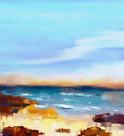 Abstracte kleurrijke zeegezicht olieverf op doek. Semi- abstract beeld van de zee en het strand met golven, rotsen en blauwe hemel. Zomerseizoen natuur achtergrond Stockfoto
