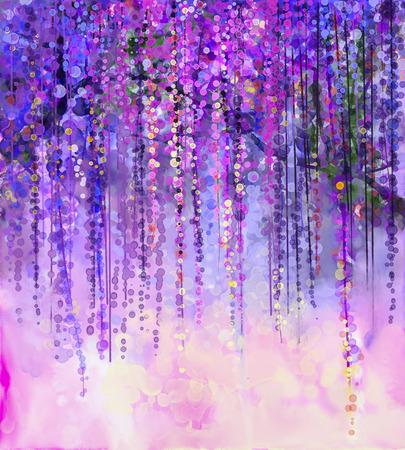 Kort paarse, rode en gele kleuren bloemen. Schilderen van de waterverf. Spring paarse bloemen Wisteria in bloesem met bokeh achtergrond Stockfoto