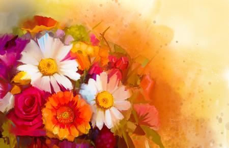 arte abstracto: Naturaleza muerta Primer plano de blancas, amarillas y rojas flores de color La pintura al óleo de un ramo de rosas, margaritas y flores de gerbera con suave fondo de color rojo y amarillo. Pintado a mano estilo impresionista floral