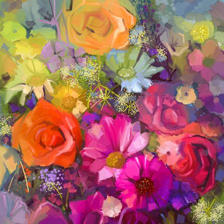 abstract: Ainda vida de flores amarelas e vermelhas cor .Oil pintando um buquê de rosas, margaridas e flores gérbera. Mão estilo impressionista floral pintada. Banco de Imagens