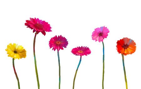 Stilleven van gele en rode gerbera bloemen Olieverf schilderij van lentebloemen. Hand geschilderde bloemen impressionistische stijl. Isoleer bloemen op witte achtergrond Stockfoto