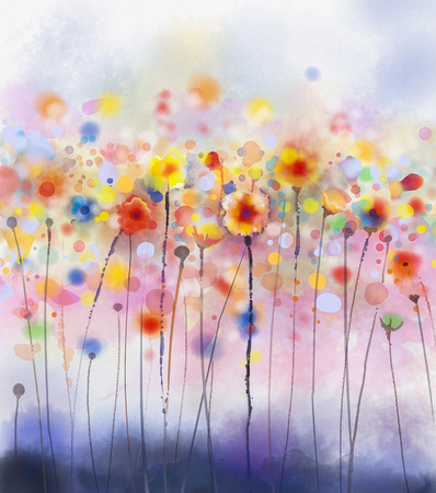 Abstract floral watercolor paintings.Red flowers in soft color on grunge paper background Foto de archivo