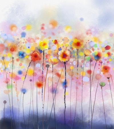 artistas: Floral flores abstractas de la acuarela paintings.Red en color suave en el fondo del papel del grunge Foto de archivo