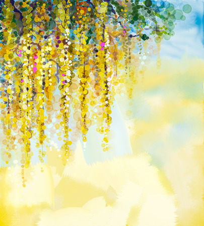art painting: Abstract flowers watercolor painting. Spring yellow flowers Wisteria with soft yellow and blue color background. Blank space for your design Stock Photo