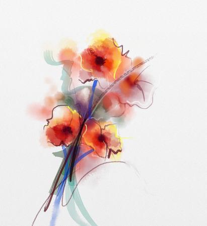 抽象的な花の水彩画。グランジ紙背景に柔らかい色に赤いケシの花 写真素材