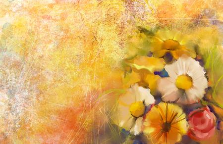 白・黄・赤の色の花のクローズ アップ静物。油絵バラ、デイジー、ソフト イエロー、赤の色の背景を持つガーベラの花束。手描きのグランジ紙背景 写真素材