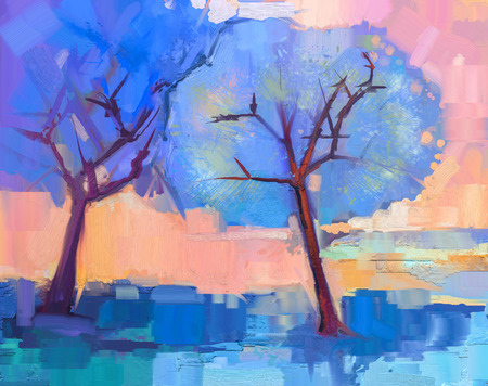 paint: Abstract colorful oil painting landscape on canvas. Semi- abstract image of trees in blue. Spring season nature background