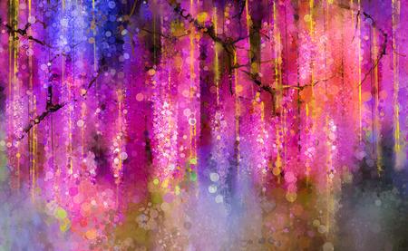 紫、赤、黄の色の花を抽象化します。水彩画。春の背景のボケ味の花紫の花藤の大木