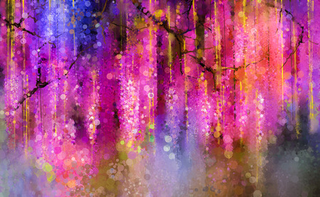 Abstract violet, red and yellow color flowers. Watercolor painting. Spring purple flowers Wisteria tree in blossom with bokeh background
