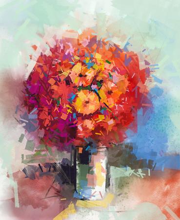 静物画花の花束を抽象化します。オイル塗装赤いガーベラの花瓶。手描きの印象派様式の花 写真素材