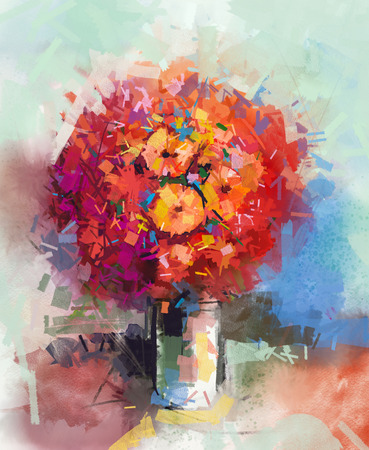 Abstract Still life a bouquet of flowers. Oil painting red gerbera flowers in vase. Hand Painted floral in Impressionist style