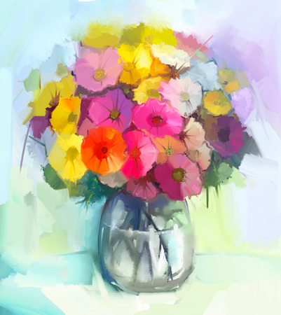 Still life of yellow and red gerbera flowers .Oil painting of a bouquet flowers in glass vase . Hand Painted floral Impressionist style
