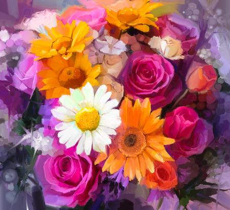 peinture: Nature morte Gros plan des blancs, jaunes et rouges fleurs de couleurs .Oil peindre un bouquet de roses, marguerites et de fleurs gerbera. Peint à la main style impressionniste floral