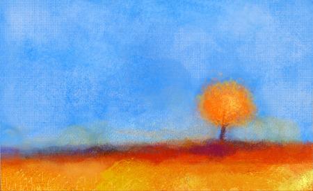 抽象風景、ツリーとフィールドの油絵。黄色やオレンジ、赤い色、落下時期の青空