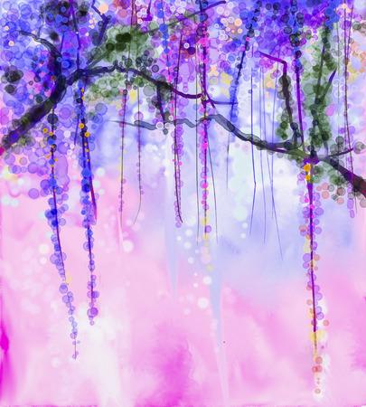 morado: Resumen flores pintura de la acuarela. Primavera flores de color p�rpura de las glicinias con el fondo bokeh Foto de archivo