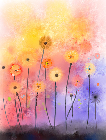 aquarell: Abstract floral watercolor paintings.Red flowers in soft color on grunge paper background Stock Photo