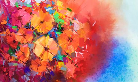 Abstract schilderen met olieverf een boeket van gerbera bloemen .closeup stilleven van rode kleur bloemen met zachte rode en blauwe kleur achtergrond. Hand geschilderde bloemen impressionistische stijl.