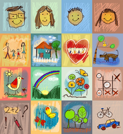 home design: Collection of cute drawings of kids, Childrens Drawing Styles. Seamless and multicolored symbols set with  human family, animals, nature, objects on colorful background. Happy family concept