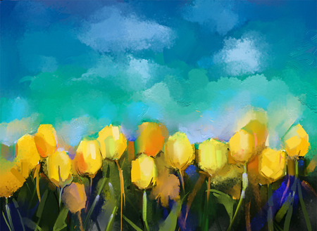 Tulips flowers oil paintings. Oil paint yellow tulip flower field with blue sky background. Spring season nature background.