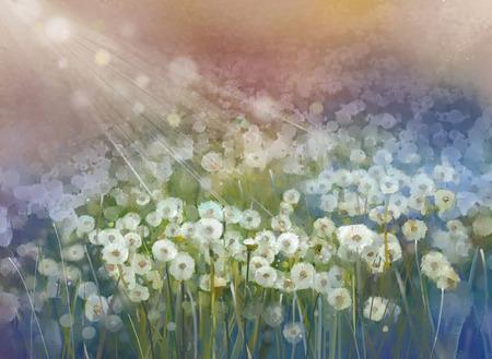 field: Vintage oil painting flowers plant. Wild flower field at sunrise