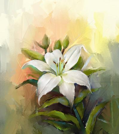 白いユリの花。花の油絵