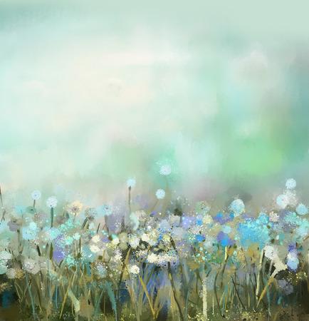 Olieverfschilderijen wilde bloemen in het veld. Lente bloemen seizoensgebonden karakter, weiden bloemen met groen blauw op de achtergrond