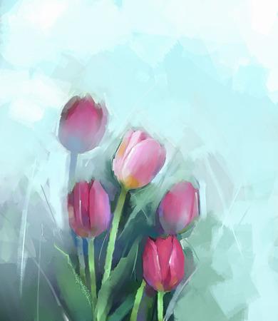 Peinture à l'huile encore vie des fleurs Tulipes rouges Banque d'images