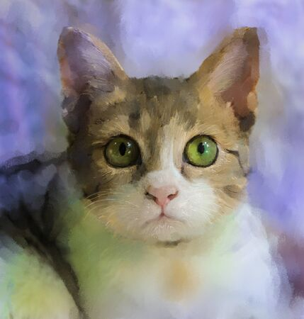 Oil painting of cat face.Digital painting