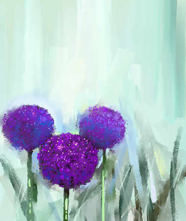 flowers field: Abstract oil painting flower in the meadows, Hand painted Purple onion flowers field in soft color background.