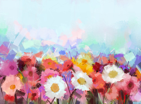 ガーベラの花。抽象的な花の油絵 写真素材