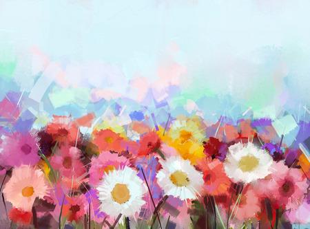 Pintura al óleo de la flor Gerbera flower.Abstract Foto de archivo - 43543586
