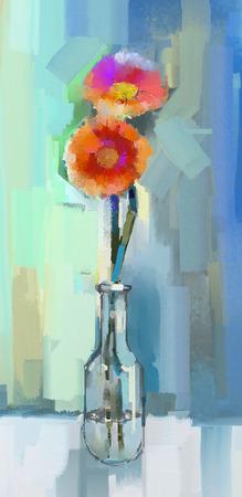 Ölgemälde Stillleben von Gerbera Blumen in Glas-Vase