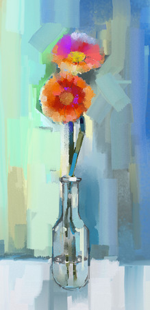 still life flowers: Oil painting still life of gerbera flowers in glass vase