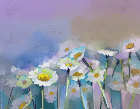 gerbera daisy: Abstract oil painting white flowers field in soft color. Oil paintings white Gerbera- daisy flower in the meadows