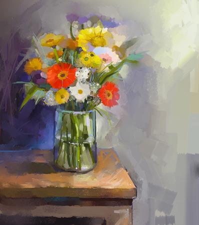 꽃다발 gerbera 꽃 유리 꽃병. 오일 페인팅 스톡 콘텐츠