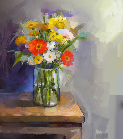 still life flowers: Glass vase with bouquet gerbera flowers. Oil painting