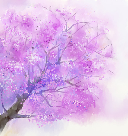 pink sky: Abstract flower watercolor painting. Cherry blossom, Sakura, pink flowers with blue sky. Hand painted spring flowers. Spring season nature background Stock Photo