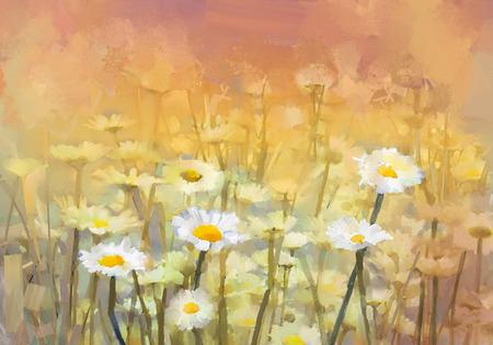 Vintage olieverfschilderij daisy-kamille bloemen gebied bij zonsopgang