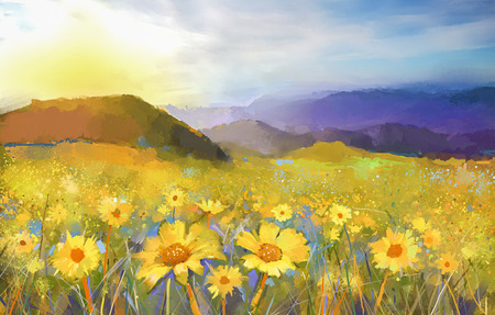 Daisy flower blossom.Oil painting of a rural sunset landscape with a golden daisy field.  Warm light of sunset, hill colored in orange-Purple at background.Colorful summer, spring season background