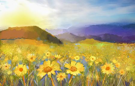 Daisy Blume blossom.Oil Malerei einer ländlichen Sonnenuntergang Landschaft mit einem goldenen Daisy-Feld. Warmes Licht Sonnenuntergang, farbige Hügel in Orange-Lila bei background.Colorful Sommer, Frühling Hintergrund Standard-Bild