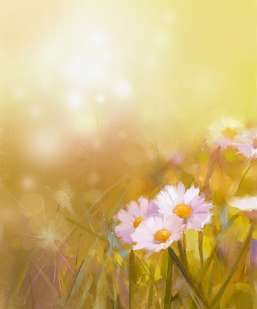 daisy pink: Vintage oil painting daisy-chamomile flowers field at sunrise