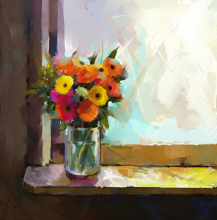 still life: Oil Painting - Still life of yellow, red and pink color flower. Colorful Bouquet of daisy and gerbera flowers. Glass vase with flowers in front of the window Stock Photo