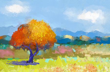Peinture à l'huile d'un paysage rural coloré. Peinture à l'huile de champs de fleurs sur canvas.Country landscape.Modern Impressionnisme Banque d'images - 43543588
