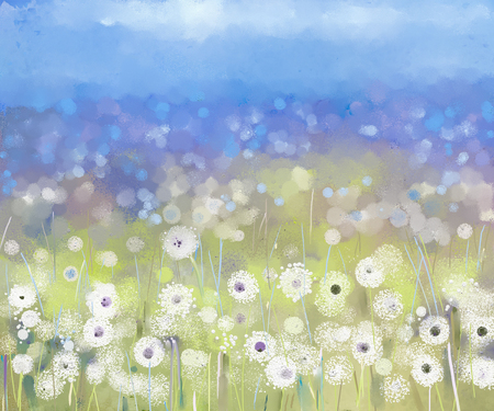 Abstract oil painting flowers plant. Dandelion flower in fields. Meadow landscape with wildflower. Purple,Blue sky color with bokeh background 스톡 콘텐츠