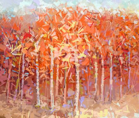 pintura abstracta: Resumen de la pintura al óleo del paisaje colorido bosque de otoño