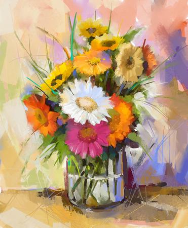 ガラスの花瓶にガーベラの静物油絵。 ガーベラの花束の花の白、赤、黄色の色 写真素材