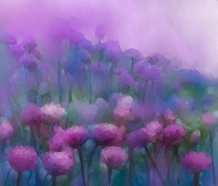 Abstract oil painting flower in the meadows, Hand painted Purple onion flower field in soft color background.