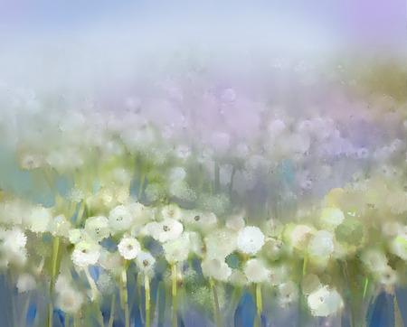 柔らかい色の抽象画油絵白い花フィールドです。油絵白い牧草地でタンポポの花。春、花の季節の自然の背景。 写真素材