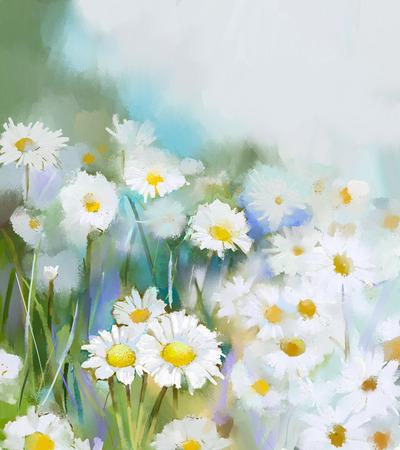 フィールドで油絵デイジーの花。手は、青緑色の背景上の柔らかい色に白い花デイジーをペイントします。春の花、季節の自然の背景