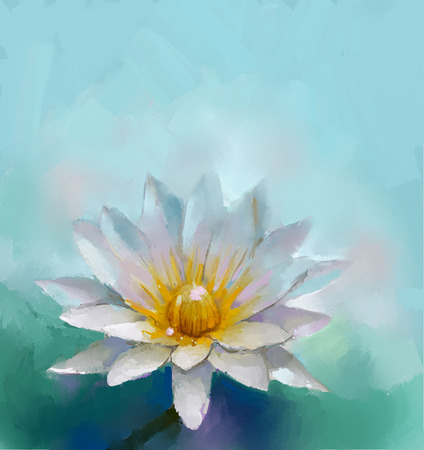 water lilly: Oil painting White Lotus flower and green- blue color background